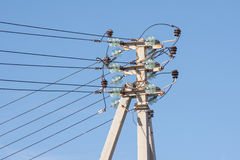 Pillar power line installed thereon isolated wires Stock Photos