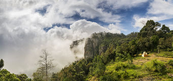 Pillar Rocks of Kodaikanal, Tamil Nadu, India. Pillar Rocks of Kodaikanal are set of three giant rock pillars which stand 122 metres (400 ft) high and is managed Stock Photo