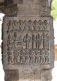 Pillar sculpture of dancing figures. Royalty Free Stock Photos