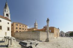 Pillar of shame ,St Elias Church and The Cathedral of St. Anasta. Sia on the city of Zadar, Croatia Stock Photos