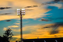 Pillar spotlights football field. Royalty Free Stock Photography