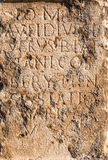 Pillar of stone with ancient Roman text in Byblos Stock Images