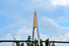 The pillar of the suspension bridge Royalty Free Stock Photos
