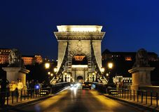 Pillar of Szechenyi Chain Bridge Royalty Free Stock Photos
