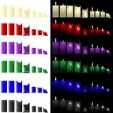 Pillar and votive candles Stock Photos