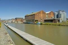 Pillar Warehouses on Bakers Quay. From Llanthony Quay, Gloucester Docks stock photos