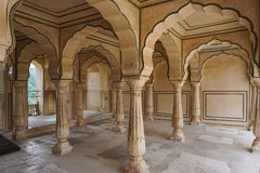 Amber Fort in Jaipur, India. The 27-pillared Diwan-i-Aam of Amer Fort in Jaipur, India. The Amer Fort, situated in Amber, 11 kilometers from Jaipur, is one of royalty free stock photo