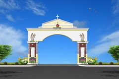 Pillars. Cement decorating the entrance arch wall Royalty Free Stock Images