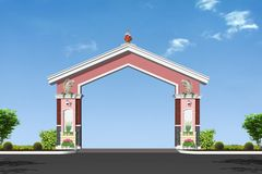 Pillars. Cement decorative pillar of arch with cool sky detail Stock Photo