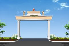 Pillars. Cement decorative pillar of arch with cool sky detail Royalty Free Stock Photos