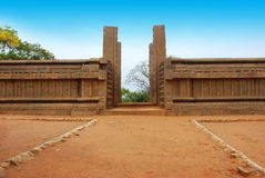 Pillars. Stone arch entryway pillars - mahabalipuram, india Stock Photo