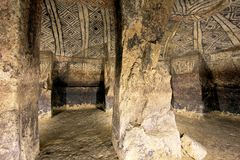 Pillars in an ancient tomb, Tierradentro, Colombia Royalty Free Stock Images
