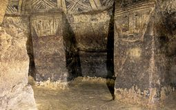 Pillars in an ancient tomb, Tierradentro, Colombia Royalty Free Stock Photos