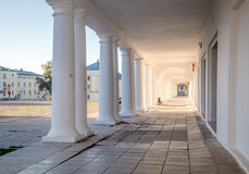 Pillars and Arch Hallway perspective Russia Suzdal Stock Photo