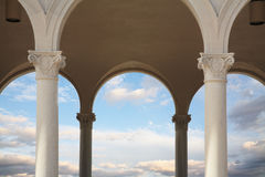 Pillars And Arches. Pillars, Arches And Cloudy Skies, Ault Park, Cincinnati, Ohio stock photo