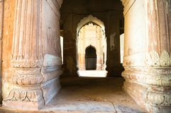 Pillars and arches in the bara imambara in lucknow. Pillars and arched gateway in the bara imambara lucknow in India. This perfect example of ancient mughal Royalty Free Stock Photos