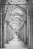 Pillars and arches of the cathedral in ruins (B & W) Stock Photo