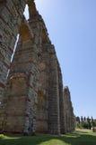 Pillars and arches of Merida Aqueduct. Roman Aqueduct of Merida Los Milagros. Extremadura, Spain. West side Royalty Free Stock Image