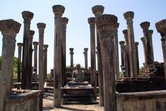 Pillars and Buddhas. Vatadage Mandalagiri Vihara, near Minneriya, Sri Lanka Royalty Free Stock Photography