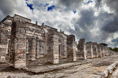 1000 pillars complex at Chichen Itza site against the storm sky Stock Images