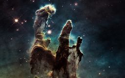 Pillars of Creation. Deep space. Elements of the image are furnished by NASA. Pillars of Creation. Deep space. Image in 5K resolution for desktop wallpaper Royalty Free Stock Photography