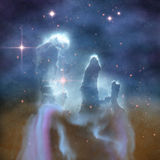 Pillars of Creation. Are part of the Eagle Nebula and are made of interstellar dust and gases Stock Photo