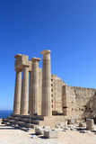 Pillars of Doric Temple of Athena Lindia Stock Image