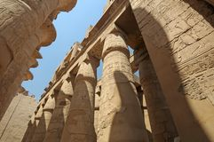 Pillars in Egyptian temple royalty free stock photography