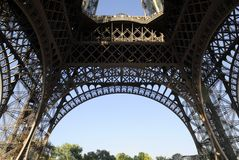 Pillars of the Eiffel tower. Structure pillars of the Eiffel tower of Paris Royalty Free Stock Image