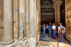 Pillars at the entrance to Church of the Holy Sepulchre. JERUSALEM, ISRAEL - AUGUST 21: Columns at the entrance to Church of the Holy Sepulchre - main Royalty Free Stock Images