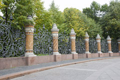 Pillars and fence in St. Petersburg Royalty Free Stock Images