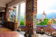 Pillars, floors, facades, walls decorated with colorful mosaic design throughout the building at Pha Sorn Kaew, Khao Kor, Phetchab. Un, Thailand stock image