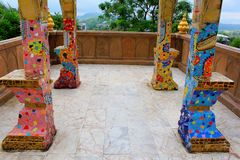 Pillars, floors, facades, walls decorated with colorful mosaic design throughout the building at Pha Sorn Kaew, Khao Kor, Phetchab. Un, Thailand stock images