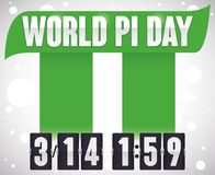Pillars Forming Pi Symbol and Flip Clock for Pi Day, Vector Illustration. Poster with pillars like pi symbol with date hour to celebrate World Pi Day: March 14 stock illustration