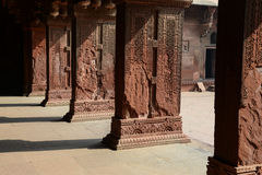 Pillars at Fort Agra in India stock photos