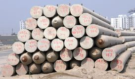 Pillars for foundation footing. At a Construction site , NCR, Noida, UP, India Stock Image