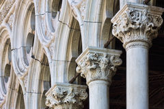 Pillars at the front of Doges Palace in Venice Italy Royalty Free Stock Photos