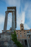 Pillars. Government overlooks ancient pillars of Rome Royalty Free Stock Images