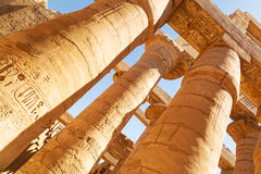 Pillars of the Great Hypostyle Hall in Karnak Royalty Free Stock Photo