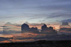 The Pillars of Hercules, Fantasy Composition from a Double Exposure. stock photography