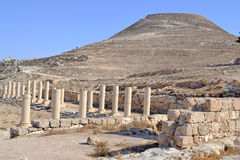 Pillars of Herodain. Ancient Archaeological remains in Herodian, Israel stock photo