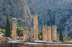 Pillars of history. Pillars of Apollo temple located on ancient Delphi oracle in Greece mountains royalty free stock image