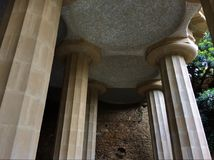 Pillars holding a tiled ceiling, Park Güell royalty free stock images