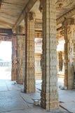 Pillars inside a hindu temple at Hampi, India Stock Photo