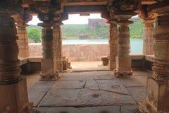 Pillars inside a old hindu temple, Badami, India Stock Photos