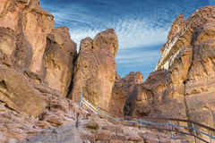 Pillars of the king Solomon in geological Timna park Royalty Free Stock Photo