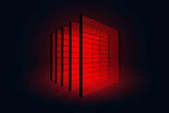 Pillars with lasers. Bank Security. Protecting data against theft thieves. Lasers in the black room. Stock Image