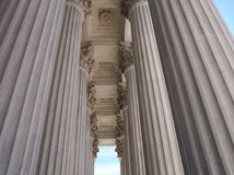 Pillars of the Law. Pillars of the entrance to the Supreme Court in Washington Royalty Free Stock Photos
