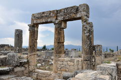 Pillars & Lintels, Hierapolis, Pamukkale, Turkey. Hierapolis (lit. Holy City) was an ancient city located on hot springs in classical Phrygia in southwestern Royalty Free Stock Photos