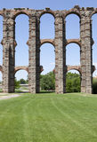 Pillars of Los Milagros Aqueduct. Roman Aqueduct of Merida Los Milagros. Extremadura, Spain. East side Stock Images